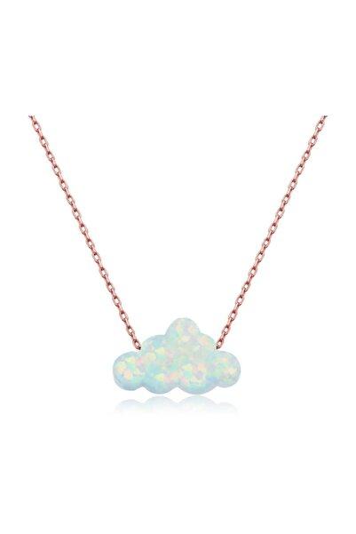 Gumush Gümüş Beyaz Opal Taş Bulut Kadın Kolye