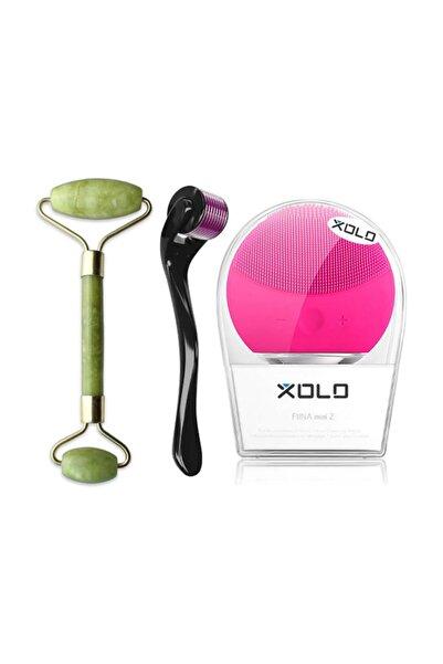 xolo Dermaroller 0,5 mm Saç Çıkarma + Şarj Edilebilir Fuşya Yüz Temizleme + Jade Roller 2'li Yeşim Taşı