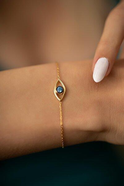 İzla Design Kadın Göz Model Altın Kaplama Gümüş İtalyan Bileklik PKT-TLYSLVR0478