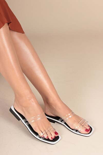 İnan Ayakkabı Beyaz Cilt Kadın Sandalet INA1625
