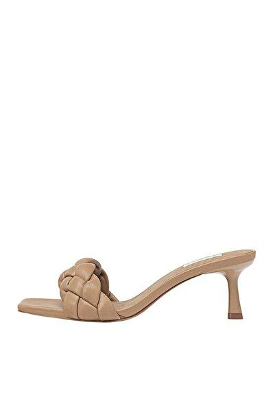 Stradivarius Kadın Bej Örgü Detaylı Dolgulu Topuklu Sandalet 19220570