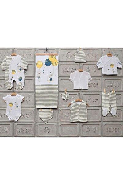Erkek Bebek Balonlu Ayıcık 10 Parça Hastane Çıkış Zıbın Seti - Beyaz