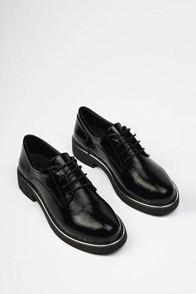 Marjin Siyah Rugan Kadın Terva Günlük Oxford Ayakkabı 19K0140MC5040
