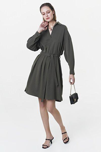 İpekyol Kadın Haki Kuşaklı Elbise IS1200002520022