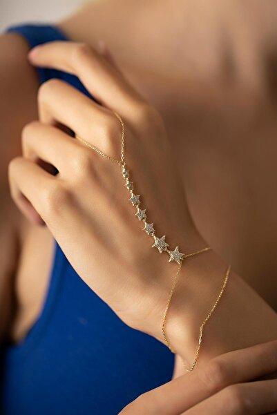 İzla Design Kadın Sıralı Yıldız Model Zirkon Taşlı Altın Kaplama Gümüş Şahmeran PKT-TLYSLVR0940