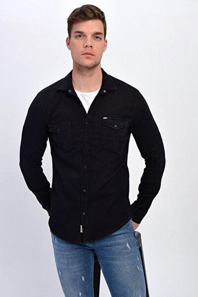 DYNAMO Erkek Siyah Çift Cepli Çıtçıtlı Likralı Kot Gömlek