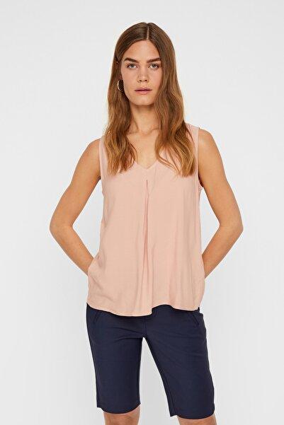 Vero Moda Kadın Pudra V Yaka Kolsuz Viskon Bluz 10200300 VMEVA