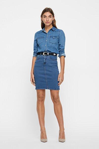 Vero Moda Kadın Mavi Arkası Yırtmaçlı Denim Etek 10193076