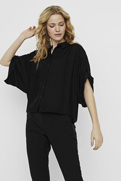 Vero Moda Kadın Siyah Yarasa Kol Viskon Gömlek 10225671 VMKATE