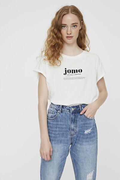 Vero Moda Kadın Beyaz Kısa Kollu Önü Baskılı Pamuklu T-Shirt 10225732 VMGILLIANAVA