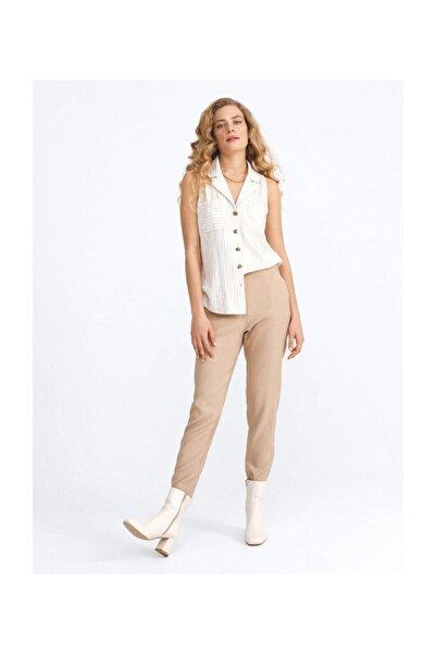 Xint Bayan Düz Bej Rengi Rahat Kesim Pantolon 200598