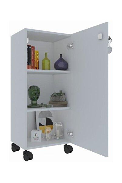 Kenzlife Mutfak Dolabı Zehra 088*030*032 Kilitli Tekerlekli Banyo Evrak Ofis Kitaplık Ayakkabılı
