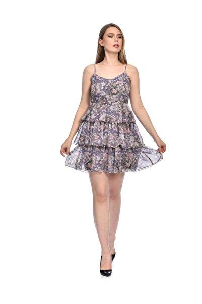 İroni Çiçekli Lila Şifon Katlı Elbise