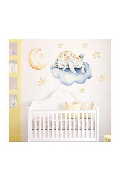 KT Decor Bulutta Uyuyan Sevimli Tavşan Stickerı