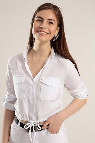 Kadın Beyaz Cepli Belden Bağlanabilir Katlanabilir Kol Gömlek Y20S110-3470