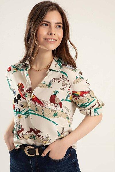 Kadın Bej Yarım Düğmeli Uzun Kollu Bluz Y20S110-3832