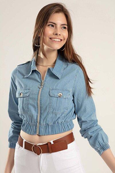 Y-London Kadın Açık Mavi Cepli Fermuarlı Beli Lastikli Kot Ceket 0647
