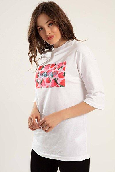 Y-London Kadın Beyaz 3/4 Kollu Uzun Tişört Y20S102-1013