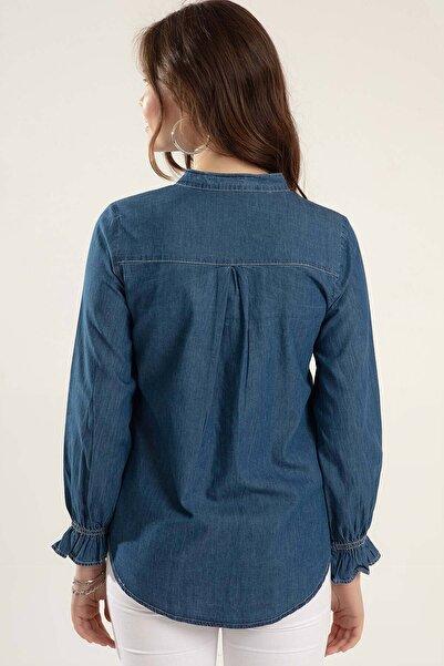 Kadın Denim Çıt Çıtlı Uzun Kol Kot Gömlek Y20S110-3799