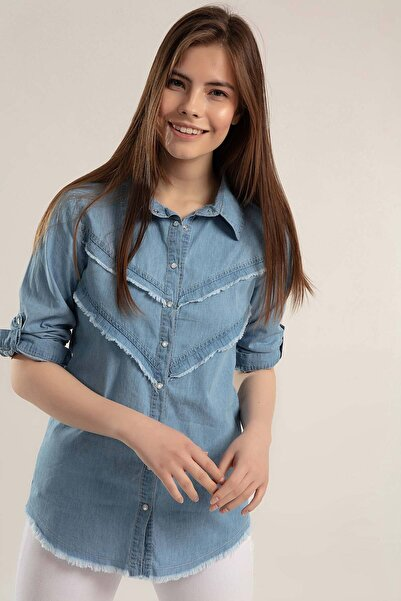 Kadın Açık Mavi Çıt Çıtlı Uzun Kollu Kot Gömlek Y20S110-3328