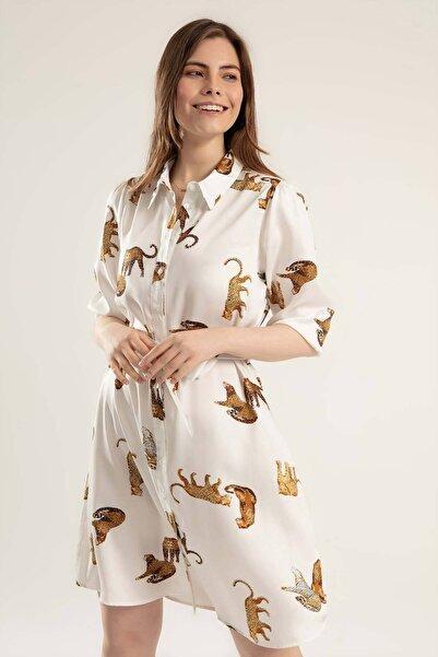 Y-London Kadın Çita Baskılı Uzun Kollu Elbise Y20s110-1945