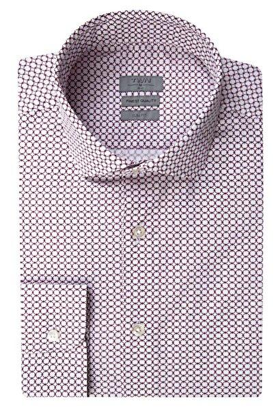 Twn Bordo Renk Erkek  Gömlek (Slim Fit)