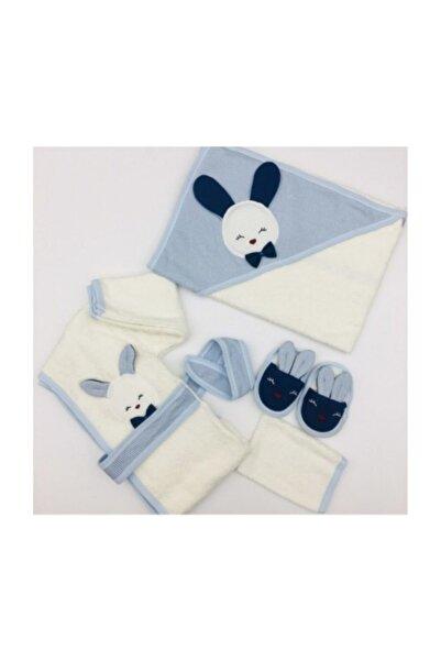 Gaye Bebe Erkek Bebek Mavi Kulaklı Tavşan Bornoz Seti