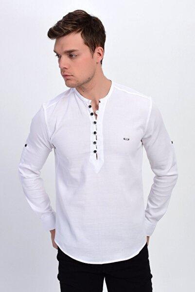 DYNAMO Erkek Beyaz Hakim Yaka Likralı Slim Fit Gömlek