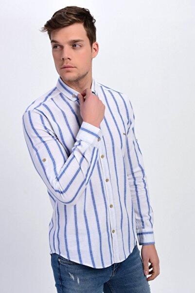 DYNAMO Erkek Beyaz Çizgili Düğmeli Yaka Pamuk Gömlek