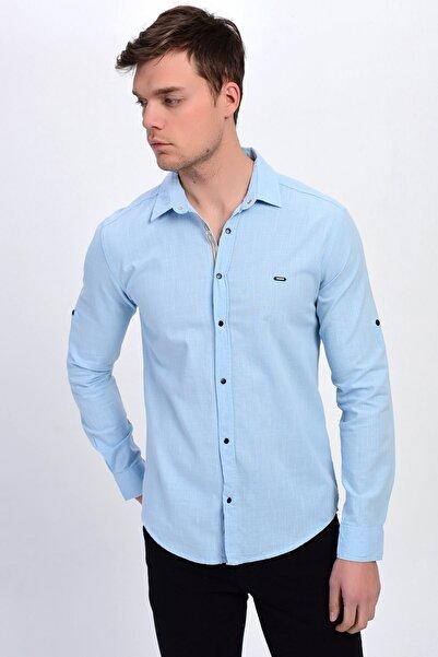DYNAMO Erkek Buz Mavi Klasik Yaka Çıtçıtlı Pamuk Gömlek
