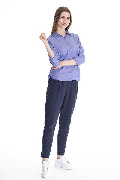 STAMINA Kadın A.Mavi Düz Arkası Uzun Gömlek 4Gm0235
