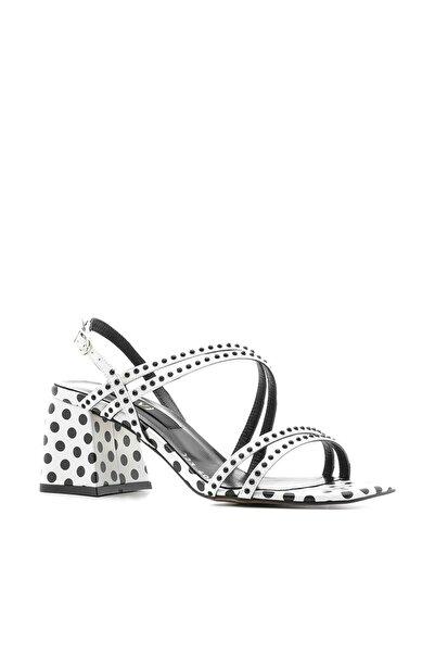 İLVİ Trol Kadın Sandalet Beyaz Deri - Siyah Deri Trol-4080.1579
