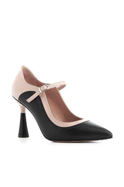 İLVİ Sova Kadın Topuklu Ayakkabı Siyah Deri-Pudra Rugan Sova-4100.0068