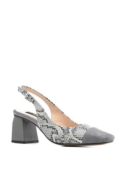İLVİ Emon Kadın Sandalet Gri-Siyah Yılan Deri Emon-4521.0031