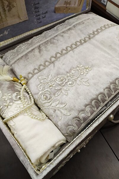 Bella Jardin Çeyizlik Seccade Bohça Havlu Sandık Seti-gümüş
