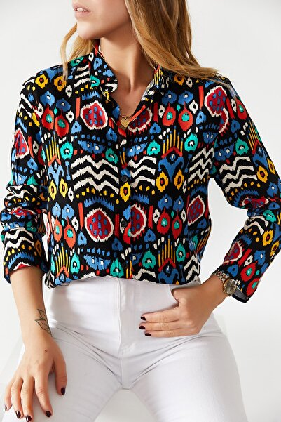 XHAN Kadın Multi Desenli Gömlek  0YXK2-43603-12