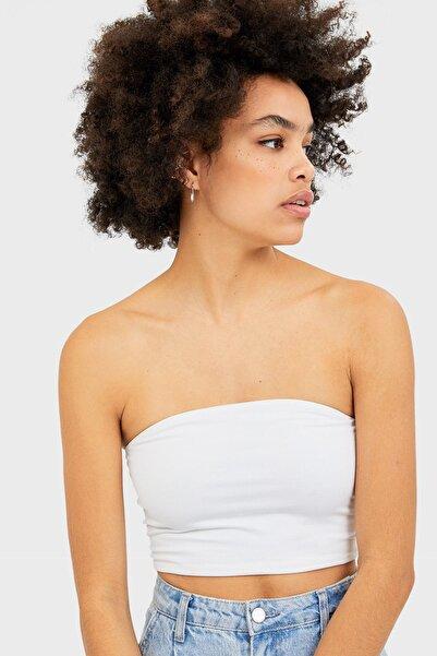 Stradivarius Kadın Beyaz Basic Bandeau Top 02544934