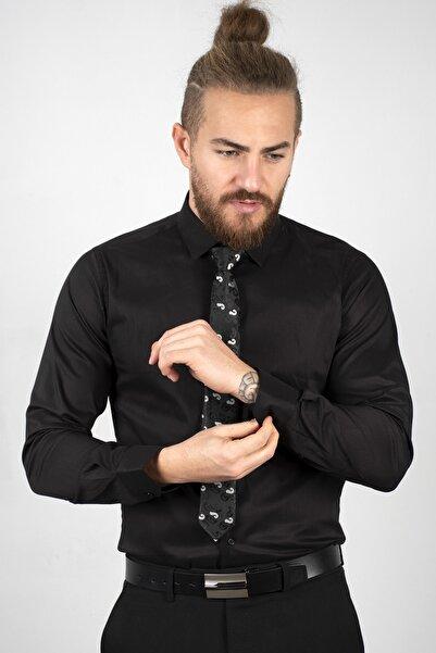 DeepSEA Siyah Erkek Yüksek Yaka Likralı Erkek Gömlek 2001040
