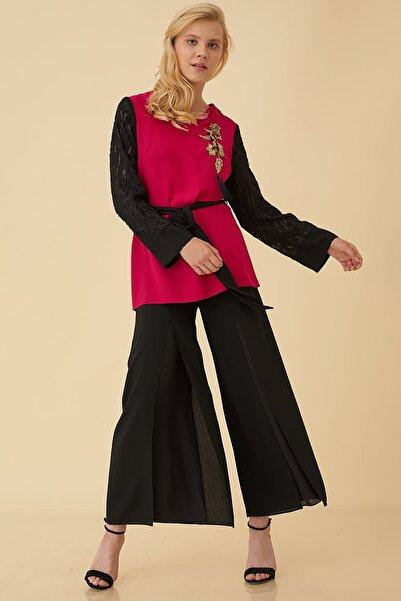 Kayra Kadın Şifon Kaplama Pantolon Siyah B9 19183