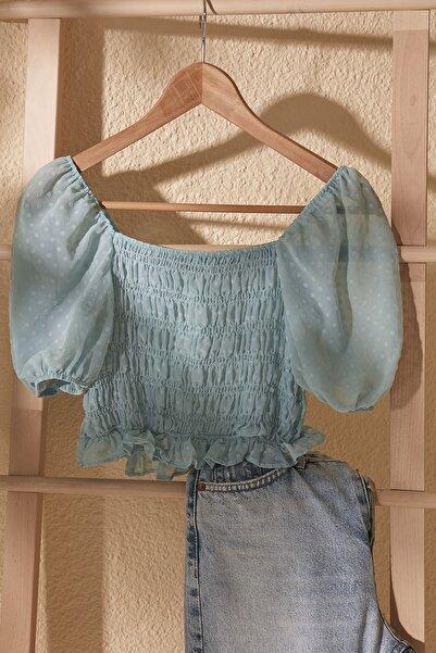 TRENDYOLMİLLA Mint Omuz Detaylı Bluz TWOSS20BZ1140