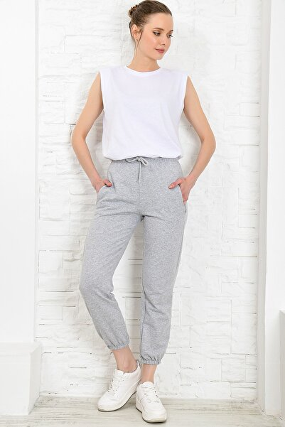 Trend Alaçatı Stili Kadın Grimelanj Paçası Lastikli İki İplik Eşofman Altı ALC-Y2933