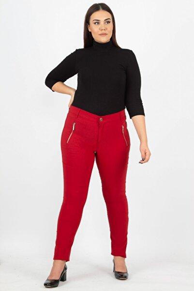 Kadın Bordo Fermuar Detaylı Pantolon 65N15523
