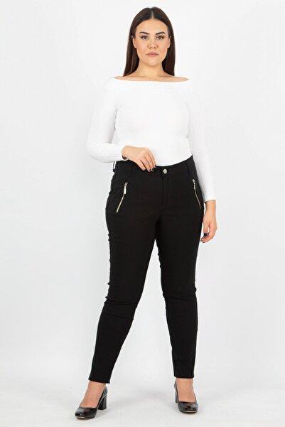 Kadın Siyah Fermuar Detaylı Pantolon 65N15523