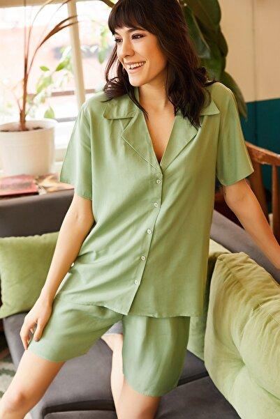 Olalook Kadın Çağla Yeşili Şortlu Viskon Pijama Takımı TKM-19000060