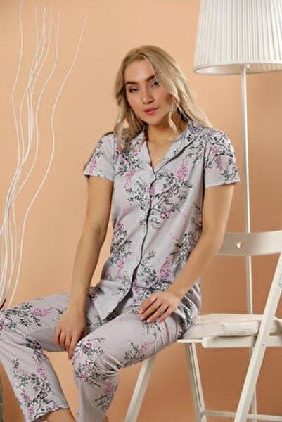 Kadın Desenli Düğmeli Pijama Takım