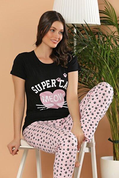 ELİTOL Kadın Siyah Baskılı Pamuklu Likralı Pijama Takım