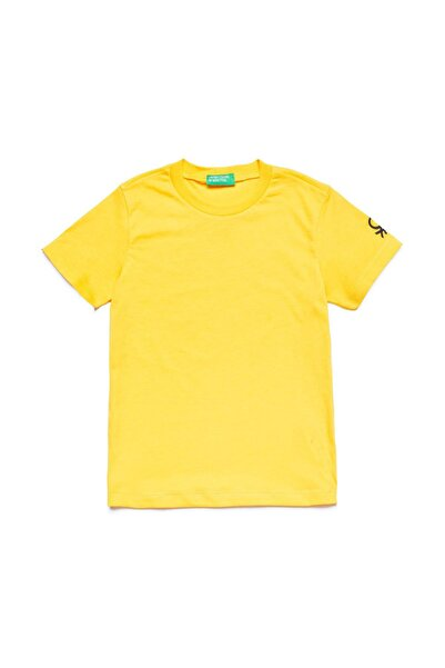 United Colors of Benetton Sarı Çocuk Benetton Logo Basic Tshirt