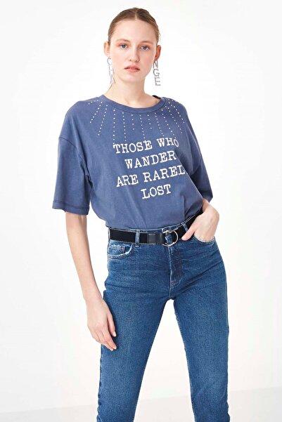 Twist Kadın Mavi Slogan Baskılı Tshirt TS1200070214089