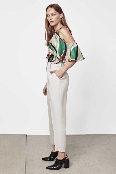 Kadın Taş Yüksek Bel Pilili Pantolon IW6190003144030