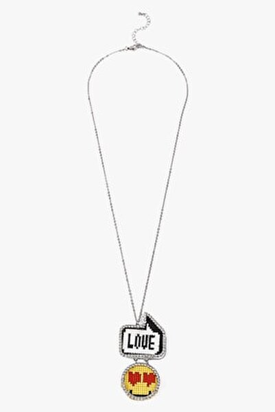 Kadın Gümüş Emoji Uçlu Uzun Kolye TS1200051055122
